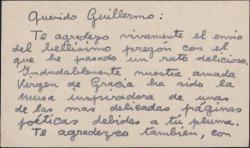 Tarjeta de visita de Antonio Cobos Soto a Guillermo Fernández-Shaw, agradeciéndole el envío de un bellísimo pregón.