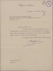 Carta de Rafael Narbona a Guillermo Fernández-Shaw, dándole la enhorabuena por el nombramiento de Director de la Sociedad General de Autores de España.