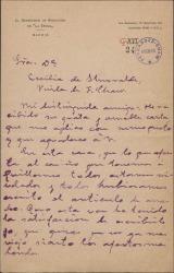 Carta de Federico P. Mateos a Cecilia Iturralde, sobre cierto artículo en relación con Guillermo Fernández-Shaw.