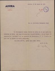 Carta de Luis Montiel Balanzat a Guillermo Fernández-Shaw, diciéndole que intentará dar trabajo a un recomendado de éste.
