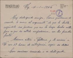 Carta de Carmen Floria a Guillermo Fernández-Shaw, enviando el argumento del que habían hablado.