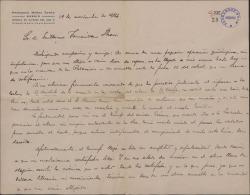 """Carta de Francisco Núñez Tomás a Guillermo Fernández-Shaw, sobre una crítica elogiosa que áquel ha publicado en la prensa sobre """"El caserío""""."""