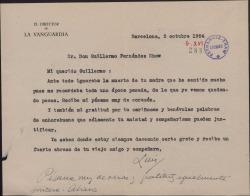 Carta de Luis de Galinsoga a Guillermo Fernández-Shaw, dando el pésame por la muerte de su madre.