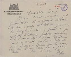 Carta firmada por Pepe [?] dirigida a Inocencio Guerrero, enviándole un documento sobre Toledo.