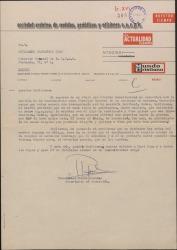 Carta de Rafael Muñoz Lorente a Guillermo Fernández-Shaw, felicitándole por su nombramiento de Director de la Sociedad General de Autores de España.