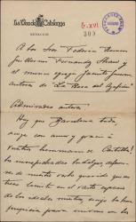 """Carta de V. Font-Barbosa a Guillermo Fernández-Shaw, Federico Romero y Jacinto Guerrero, felicitándoles por el éxito de """"La rosa del azafrán""""."""