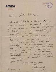 """Carta de Leopoldo Bejarano a Julio Poveda, enviándole una convocatoria a un homenaje a los autores de """"Luisa Fernanda"""" para que la lea y valore para modificar lo que sea preciso."""
