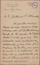 """Carta de Ismael Sánchez Estevan a Guillermo Fernández-Shaw, dándole la enhorabuena por el éxito de """"La canción del olvido""""."""