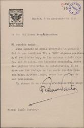 """Carta de Ramón Pastor a Guillermo Fernández-Shaw, acusando recibo de una colaboración poética para el periódico """"ABC""""."""