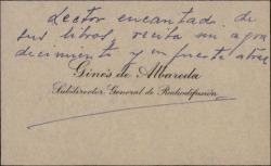 Tarjeta de visita de Ginés de Albareda a Guillermo Fernández-Shaw, con unas letras de agradecimiento.
