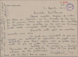 Carta de Rafael Duyos a Guillermo Fernández-Shaw, devolviéndole unas pruebas y encargándole unas separatas de un romance.