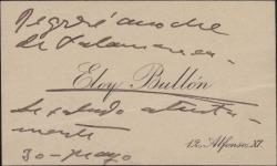 Tarjeta de visita de Eloy Bullón, enviando un saludo.