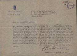 Carta del Conde de Montarco a Guillermo Fernández-Shaw y Federico Romero, atendiendo su solicitud para que se dé el nombre de Amadeo Vives a una calle de Madrid.