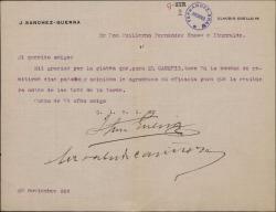 """Carta de J. Sánchez Guerra a Guillermo Fernández-Shaw, agradeciéndole la platea para una representación de """"El caserío""""."""