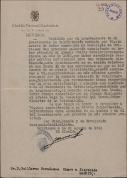 Carta de Marino López-Linares González a Guillermo Fernández-Shaw, agradeciéndole la felicitación con motivo de un premio otorgado al municipio de Briviesca del que áquel es alcalde.