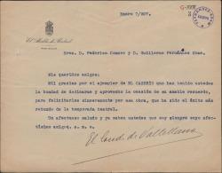 """Carta de Fernando Suárez de Tangil, Conde de Vallellano, a Guillermo Fernández-Shaw y Federico Romero, agradeciéndoles el ejemplar dedicado que le han enviado de """"El caserío"""" y felicitándoles por su éxito."""