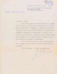 Carta de Joaquín Ruiz-Giménez Cortés a Carlos Manuel Fernández-Shaw, hablándole de las gestiones hechas a favor de su hermano Félix Guillermo Fernández-Shaw.