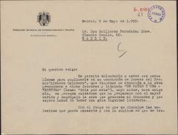 """Carta de Guillermo de Reyna, Secretario General de Cinematografía y Teatro, a Guillermo Fernández-Shaw, recomendándole una obra para el premio """"Alvarez Quintero"""" del que es parte del jurado."""