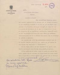 Carta de Juan García-Ontiveros a Guillermo Fernández-Shaw, felicitándole por sus éxitos y agradeciendo las atenciones tenidas para con sus hijos.