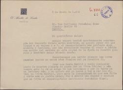 Carta de Víctor Hellín Sol, Alcalde de Lérida, a Guillermo Fernández-Shaw, agradeciéndole su visita a la ciudad con motivo de un estreno teatral.