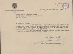 "Carta de Joaquín Argamasilla a Eduardo Aunós, comunicando que ha firmado el permiso para el rodaje de ""Mar de fondo""."
