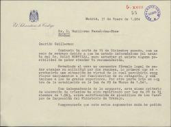 Carta de Ricardo Gómez-Acebo a Guillermo Fernández-Shaw, lamentando no poder ayudar a su recomendado por no existir fórmula legal para ello.