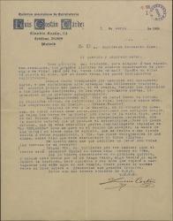 """Carta de Luis Costán a Guillermo Fernández-Shaw, agradeciéndole que haya sabido plasmar tan bellamente imágenes de su pasado en """"La chulapona""""."""