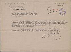 Carta de Carlos Moltó a Guillermo Fernández-Shaw, felicitándole por su nombramiento como Director General de la Sociedad General de Autores de España.