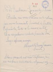 Carta de Manolita Gómez Caunedo, Lucila, a Guillermo Fernández-Shaw, felicitándole por su nombramiento como Director General de la Sociedad General de Autores de España.