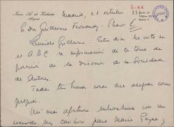 Carta de Juan A. de Zulueta a Guillermo Fernández-Shaw, felicitándole por su nombramiento como Director General de la Sociedad General de Autores de España.