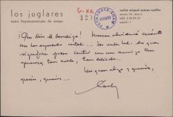 Tarjeta de Carlos Miguel Suárez Radillo a Guillermo Fernández-Shaw, agradeciendo su ayuda.