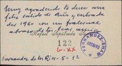 Tarjeta de visita de Rafael Sepúlveda Sanz, deseando un feliz año 1960.