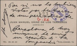 """Tarjeta de visita de Juan Manuel Sáinz de los Terreros, enviando un recorte de """"La Vanguardia""""."""