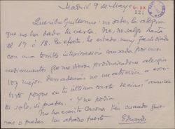 Carta de Eduardo [?] a Guillermo Fernández-Shaw, agradeciendo su carta e invitándole a ir a verle cuando quiera.