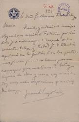 Carta de Juan López Núñez a Guillermo Fernández-Shaw, pidiéndole ayuda para hacer posible el estreno de una zarzuela.