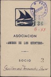 """Carné de socio de """"Amigos de los Quintero"""" de Guillermo Fernández-Shaw."""