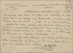 Carta de Ángel Mingote Lorente a Guillermo Fernández-Shaw, interesándose por una recomendación de éste.