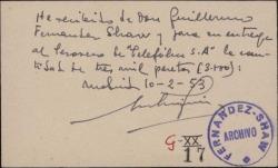 Tarjeta de visita de Manuel Enterría Gainza a Guillermo Fernández-Shaw, conteniendo el recibo de una cantidad de dinero.