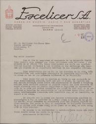 """Carta de Escelicer, editor, a Guillermo Fernández-Shaw, proponiéndole la publicación de """"Doña Francisquita"""" en la colección """"Teatro""""."""