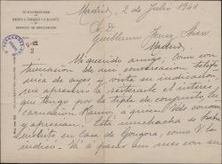 Carta de H. de Escoriaza a Guillermo Fernández-Shaw, recomendandole a una tiple de conjunto, Encarnación Ramos.