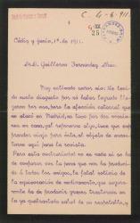 Carta de José de Casaux a Guillermo Fernández-Shaw, pidiéndole noticias sobre la enfermedad de su padre, Carlos Fernández Shaw.