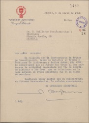 Carta de Alejandro Bérgamo, Consejero Secretario de la Fundación Juan March, comunicando a Guillermo Fernández-Shaw la adjudicación de diversas becas y ayudas económicas.