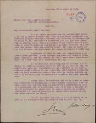 """Carta de Shum y José Donday al Marques de Valdeiglesias, Alfredo Escobar, comunicando le remiten su libro, traducción de """"El Fantasma de Canterville"""" y pidiéndole de su opinión sobre él en su periódico."""