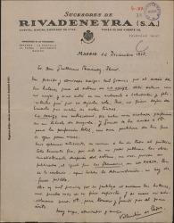 """Carta de Valentín de Pedro a Guillermo Fernández-Shaw, agradeciéndole las entradas y felicitándole por """"La meiga""""."""