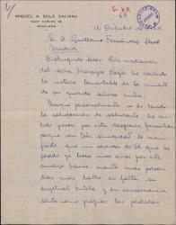 Carta de Miquel A. Solà Dalmau a Guillermo Fernández-Shaw, dándole el pésame por la muerte de su madre.