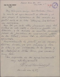 """Carta de Miguel Ourvantzoff a Guillermo Fernández-Shaw, agradeciendo el envío de """"Estampas isabelinas"""" para la biblioteca que está creando en Alarcón."""