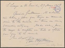 Carta de Pedro Ortega Baisse a Guillermo Fernández-Shaw, enviándole un libro de comedias antiguas.