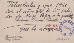 Tarjeta de visita de Antonio García Padilla a Guillermo Fernández-Shaw, felicitándole el año nuevo.