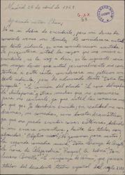 Carta de José Luis Barrio a Guillermo Fernández-Shaw, comentando que es un gran admirador suyo y pidiéndole por favor le conteste a su carta.