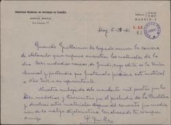 Carta de P. Guillén a Guillermo Fernández-Shaw, hablando sobre un dinero a cobrar en concepto de derechos por unas obras de éste.